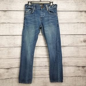 William Rast 29 Taper Button Fly Distressed Jeans